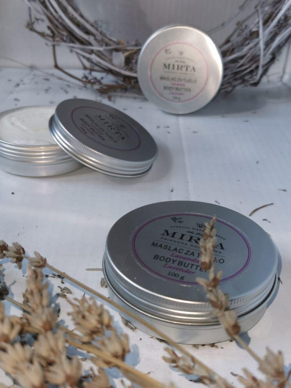 Maslac za tijelo na bazi bademovog ulja i karite maslaca s mirisom lavande za njegu suhe kože