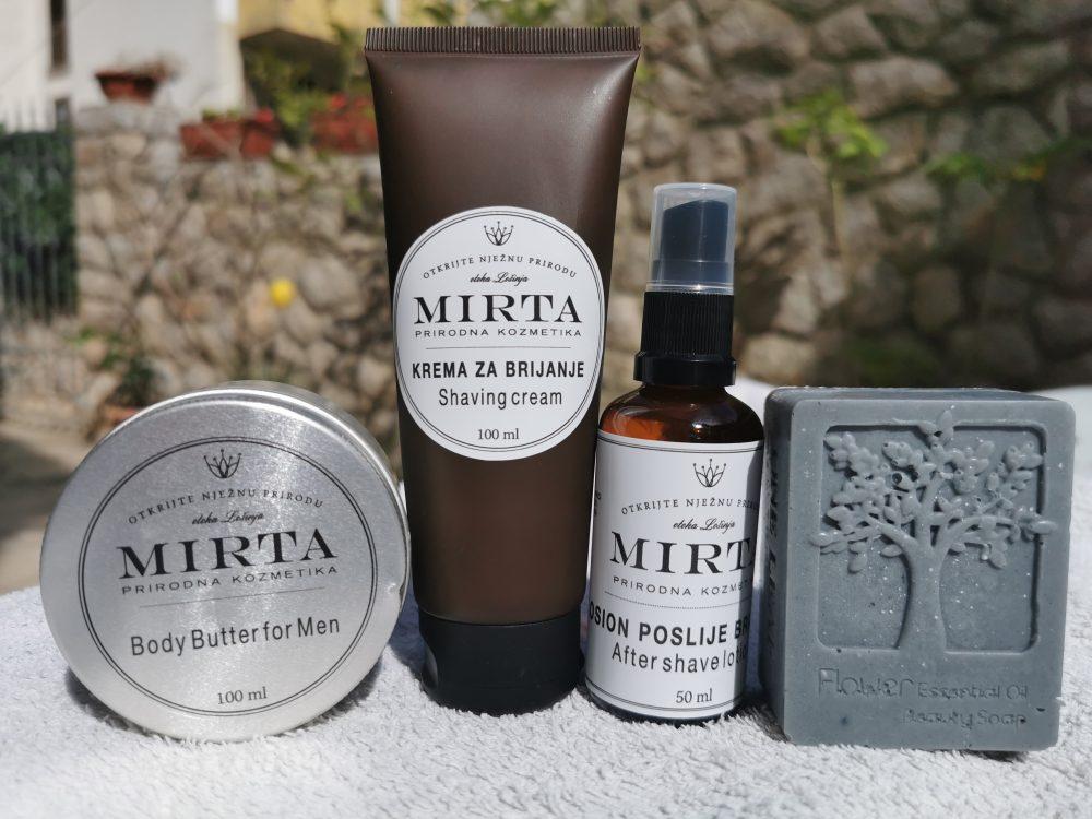 muški maslac za tijelo, krema za brijanje, losion poslije brijanja i sapun s aktivnim ugljenom